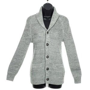 H&M Long Button Up Cardigan Thick Gray Size Small